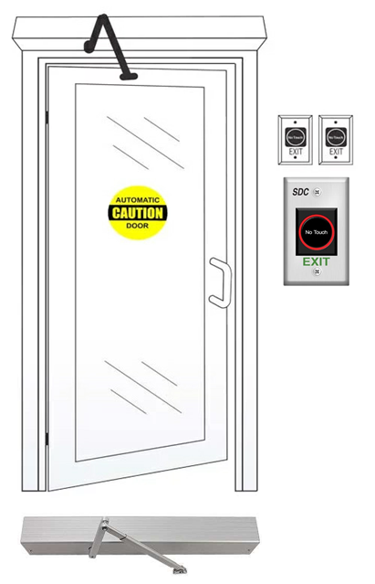 Automatic Touchless Door Entry System Using Automatic Operator And Wave To Exit Switch