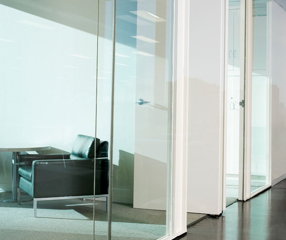 commercial interior glass in an office