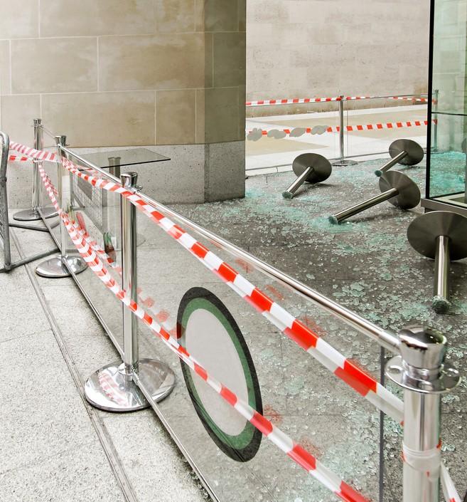 broken storefront glass
